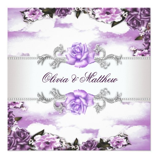 Purple Roses Lavender White Cloud Wedding Invitations