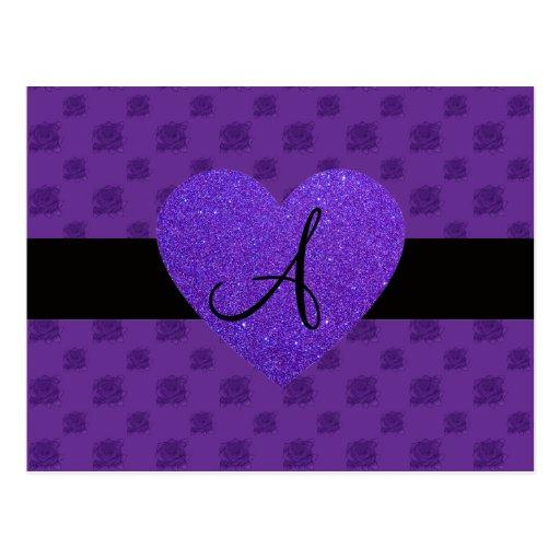 Purple roses monogram heart postcard