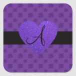 Purple roses monogram heart square sticker