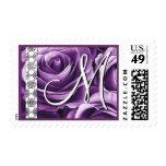 PURPLE Roses Monogram Lace Wedding Stamp