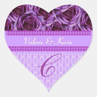 Purple Roses Monogram Letter C Wedding Sticker