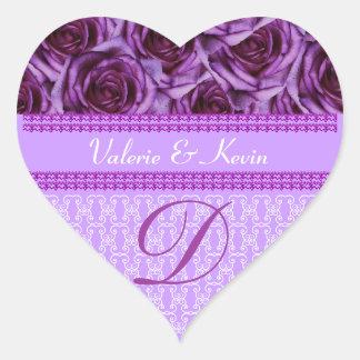 Purple Roses Monogram Letter D Wedding Sticker