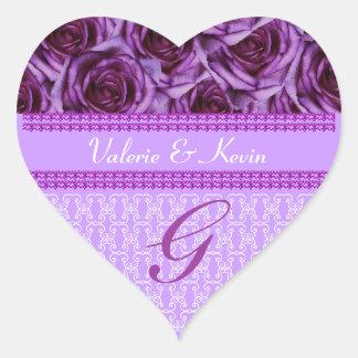 Purple Roses Monogram Letter G Wedding Sticker