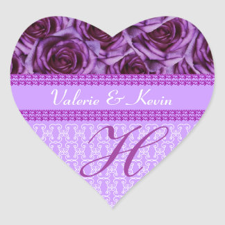 Purple Roses Monogram Letter H Wedding Sticker