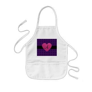 Purple roses monogram pink heart apron