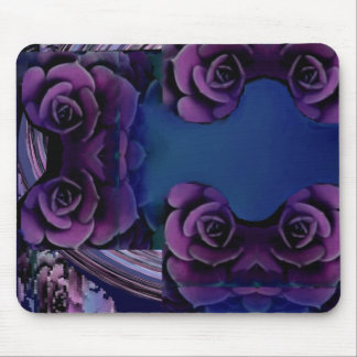 Purple Roses on Royal Blue Pattern Mouse Pad