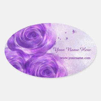 Purple Roses Oval Sticker