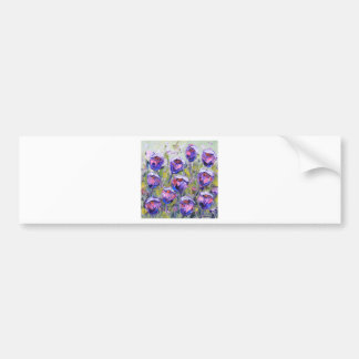 Purple Roses Painting, Spring Flowers, Pink Car Bumper Sticker