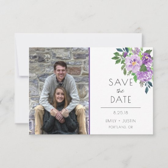 Purple Roses Photo Save the Date |