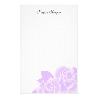 Purple Roses Pink Dots Personal Stationery