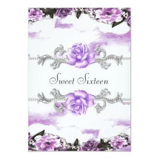 Purple Roses Purple Pretty Sweet Sixteen Party Card