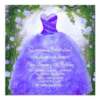 Purple Roses Purple Quinceanera Invitations
