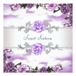 Purple Roses Purple Sweet 16 Party Personalized Invites