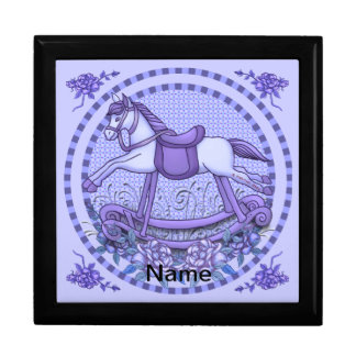 Purple Roses Rocking Horse Trinket Box