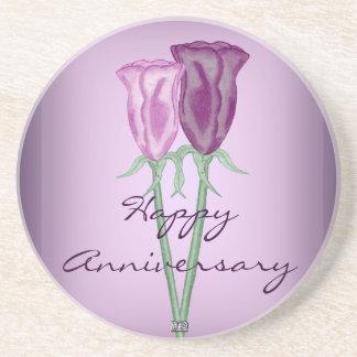 Purple Roses Sandstone Coaster