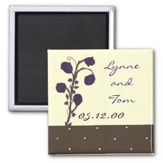 Purple Roses Save the Date Fridge Magnet