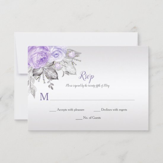 Purple Roses Silver Leaves - Silver - Wedding | RSVP Card