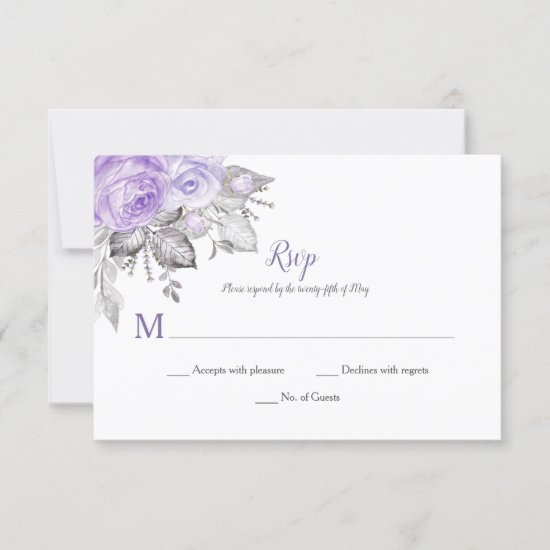 Purple Roses Silver Leaves - White - Wedding | RSVP Card