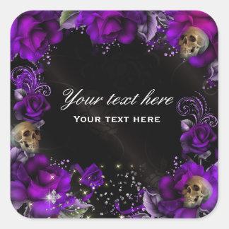 Purple Roses + Skulls Gothic Sticker Label