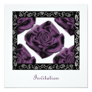 Purple Roses Square Invitation