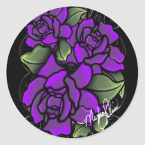 purple, roses, stickers, dark roses, violet roses, rose, button, fantasy, science fiction, Sticker with custom graphic design