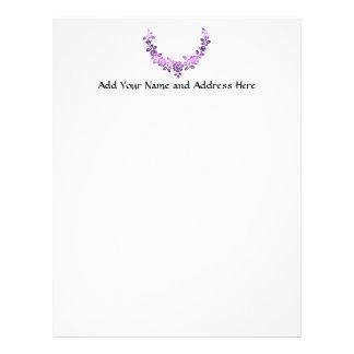 Purple roses swag custom letterhead