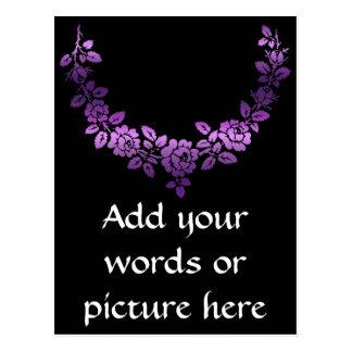 Purple roses swag postcard