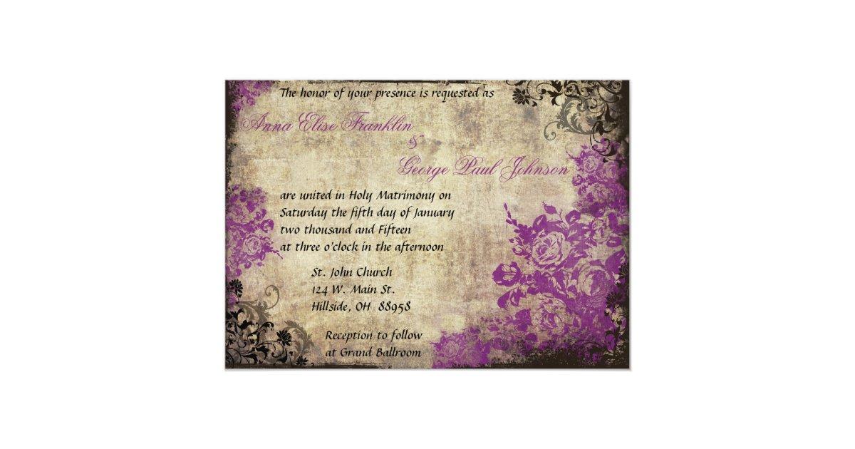 Purple Rose Wedding Invitations: Purple Roses Vintage Wedding Invitation