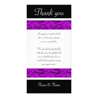 Purple roses - wedding & birthday thank you cards photo card