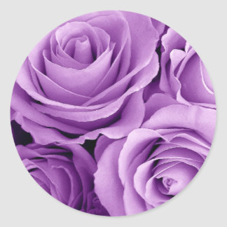 PURPLE Roses - Wedding Envelope Seal Classic Round Sticker