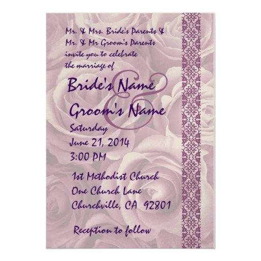 PURPLE Roses Wedding Invitation