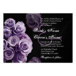 Purple Roses Wedding Invitation Metallic