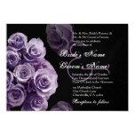 """Purple Roses Wedding Invitation Metallic 5"""" X 7"""" Invitation Card"""