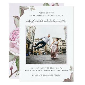 Purple Roses Wedding Photo Invitation