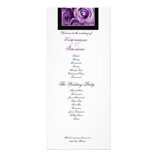 PURPLE ROSES Wedding Program Announcement Personalized Rack Card