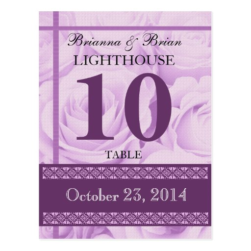 PURPLE Roses Wedding Table Number Card Reception Post Cards
