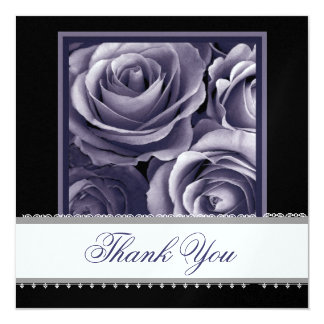 PURPLE Roses with Lace Ribbon Wedding Thank You Card