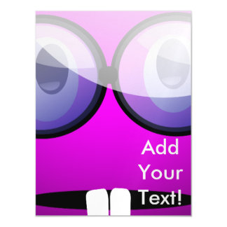Purple Round Nerd Glasses Magnetic Card