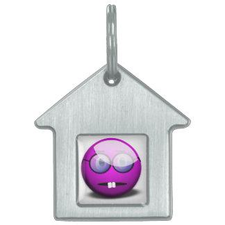 Purple Round Nerd Glasses Pet ID Tag