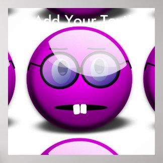 Purple Round Nerd Glasses Poster