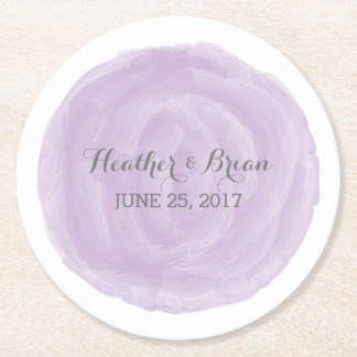 Purple Round Watercolor Wedding Paper Coasters
