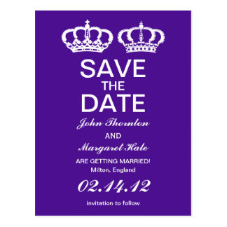 Purple Royal Couple Save the Date Postcard