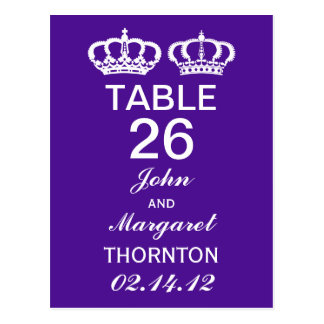 Purple Royal Couple Table Numbers Postcard