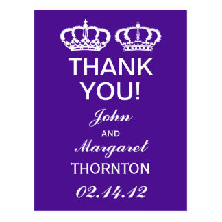 Purple Royal Couple Thank You Postcard