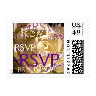 Purple RSVP Postage Stamp with Cream Rose