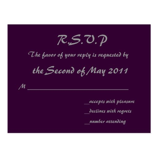 Purple RSVP Postcard