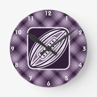 Purple Rugby Round Clock