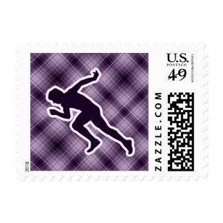 Purple Running Postage Stamp