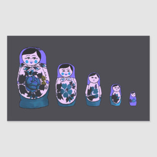 Purple Russian Nesting Dolls Rectangular Sticker