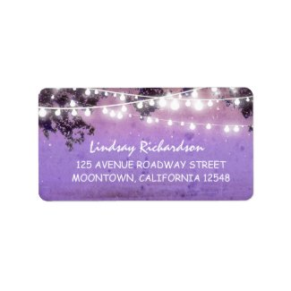 purple rustic address label with string lights